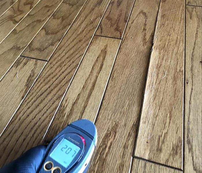 Trained technician uses water moisture meter to determine the extent of water damage on hardwood flooring in Santee home